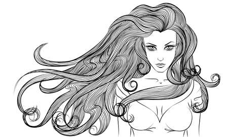young girl nude: Vector monochrome portrait of a young woman with long hair outline Illustration