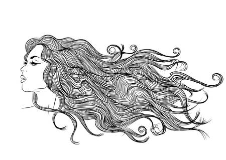 Vector monochrome profile of a girl with long hair outline Ilustrace