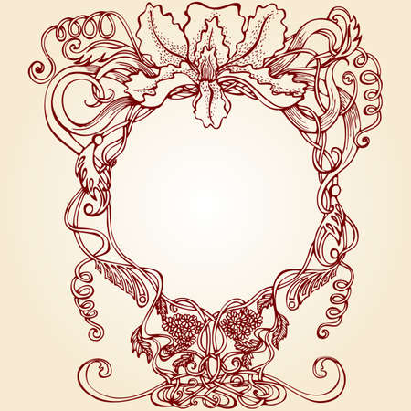 nuvo: decorative frame in retro style with iris outline Illustration