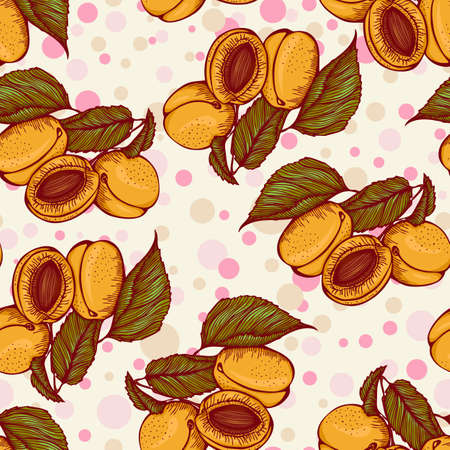 apricots: Seamless color pattern with apricots. Vector illustration