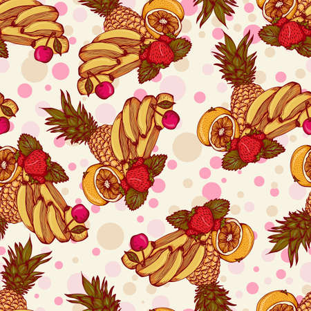 Seamless pattern with tropical fruit. Vector illustration