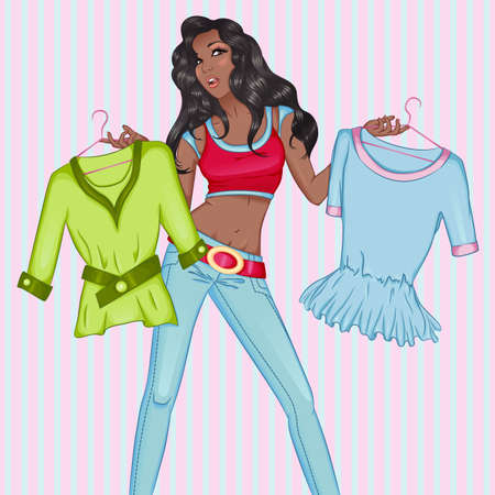habiliment: Vector decorative fashion illustration of pondered african woman with clothes in hands, on retro background