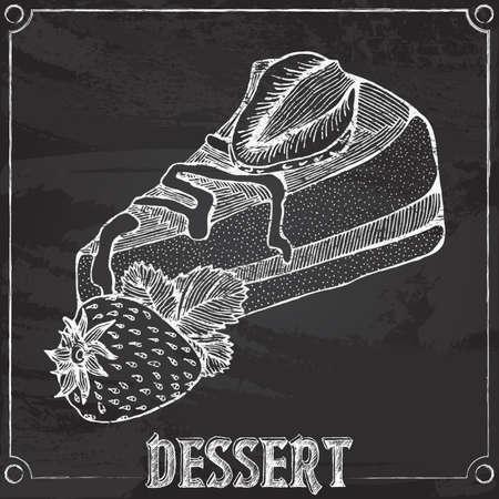 porcion de pastel: tiza dibujo con un pedazo de pastel con fresas
