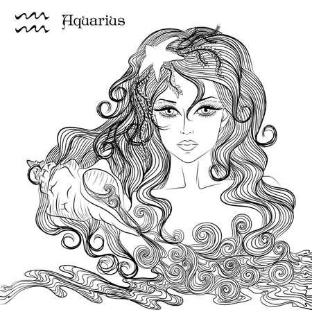 Zodiaque. illustration du signe astrologique du Verseau comme une jeune fille aux cheveux longs. Lineart pour la coloration page du livre