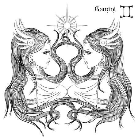 Zodíaco. Ilustración del signo zodiacal de Géminis como una chica con el pelo largo. Dibujo lineal de la página de libro para colorear