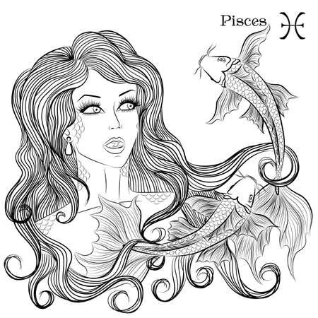 Zodiac. illustration of the astrological sign of Pisces as a girl with long hair. Lineart for coloring book page Çizim
