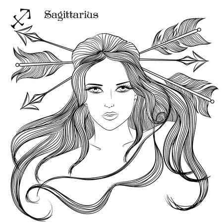 page long: Zodiac. illustration of the astrological sign of Sagittarius as a girl with long hair. Lineart for coloring book page