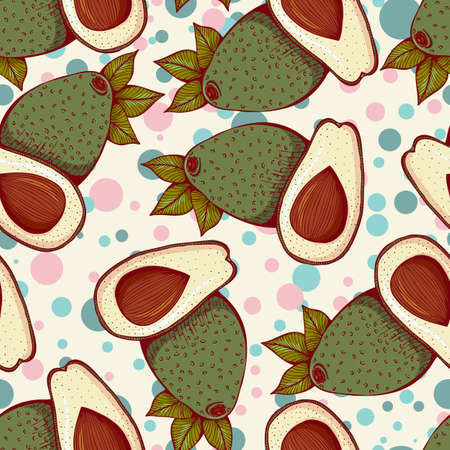seamless pattern with whole and half avocado.Illustration in retro style Illusztráció