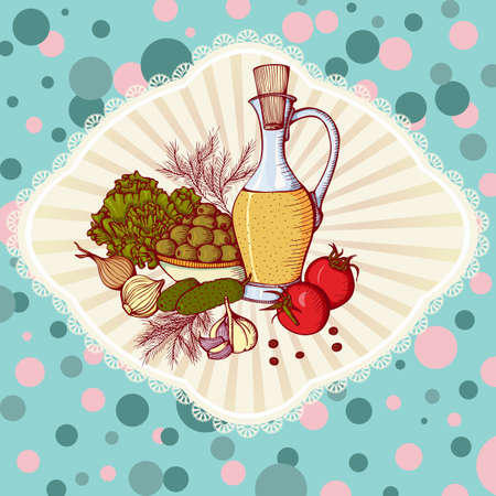 still life food: Still life with vegetables and oil. illustration in retro style. Design for cookbook or Vegetarian menu