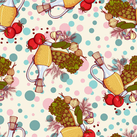 still life food: seamless pattern with still life with vegetables and oil. Illustration in retro style Illustration