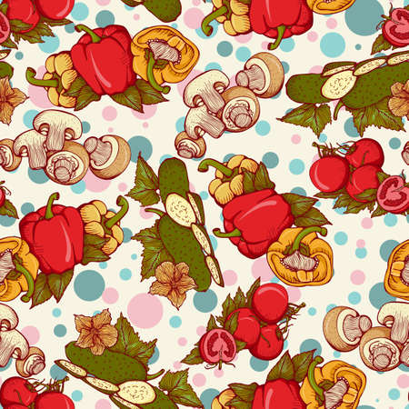 cucumbers: seamless pattern with different vegetables: cucumbers, tomatoes, mushrooms, paprika. Illustration in retro style Illustration