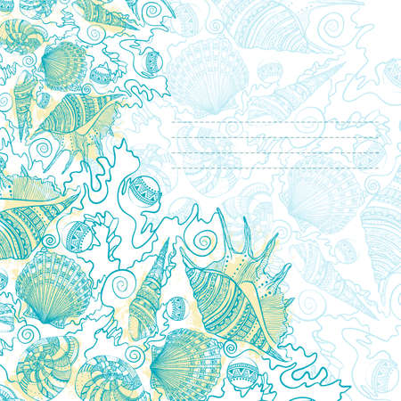 Card design with sea shells. Marine decorative background with grunge elements. illustration. Design for message cards or stickers