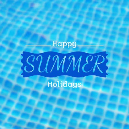 caustic: blurred background with illustration of swimming pool and summer label. Travel design. Mesh blurred background.