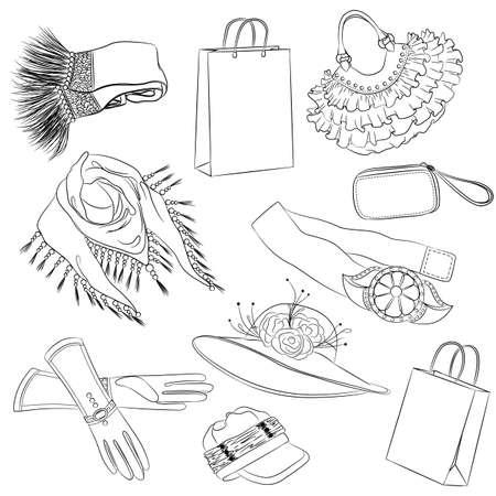 Un conjunto de accesorios de moda. Varios accesorios de las mujeres. ilustración del esquema Ilustración de vector