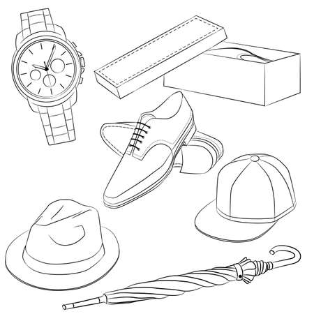 apparel part: A set of fashion accessories. Mens shoes and accessories. Outline illustration