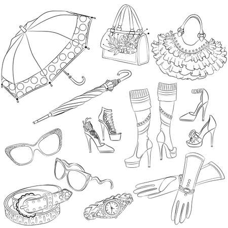 leather goods: A set of fashion accessories. Various womens accessories. Outline illustration
