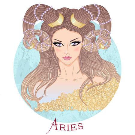 ilustracja znaku astrologicznego Barana jako pięknej dziewczyny z długimi włosami. Okrągły kształt Ilustracje wektorowe