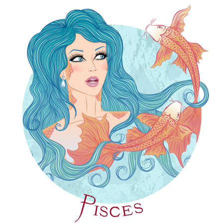 illustration of the astrological sign of Pisces as a beautiful girl with long hair. Round shape Ilustração