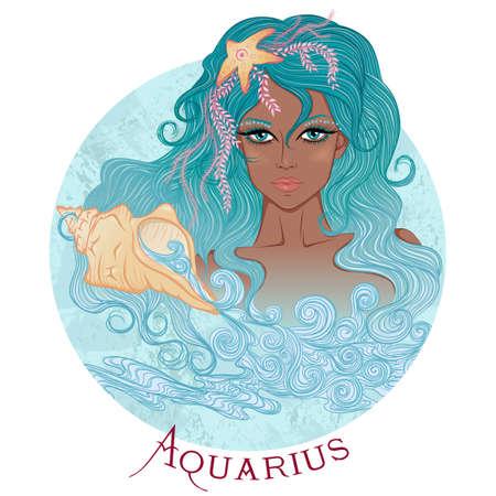 illustration du signe astrologique du Verseau comme une belle fille afro-américaine aux cheveux longs. Forme ronde
