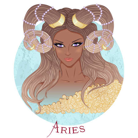 illustration of the astrological sign of Aries as a beautiful african american girl with long hair. Round shape 矢量图像