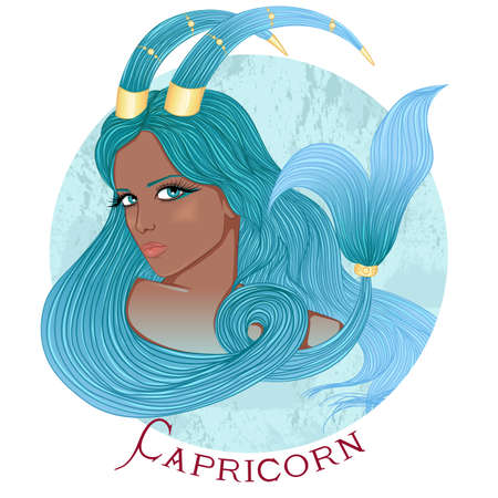illustration of the astrological sign of Capricorn as a beautiful african american girl with long hair. Round shape