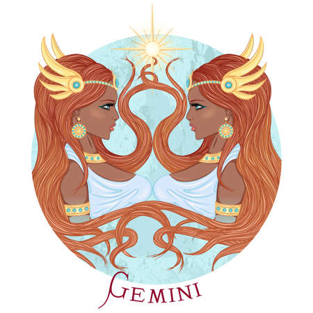 illustration of the astrological sign of Gemini as a beautiful african american girl with long hair. Round shape