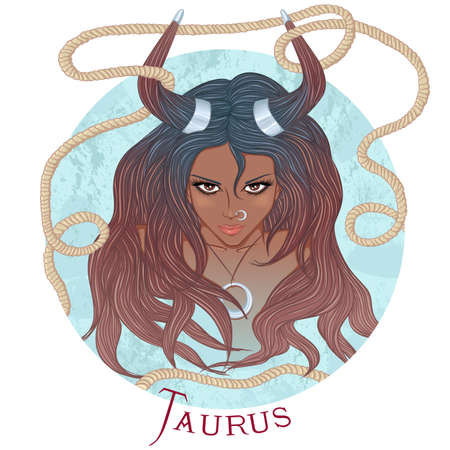illustration of the astrological sign of Taurus as a beautiful african american girl with long hair. Round shape
