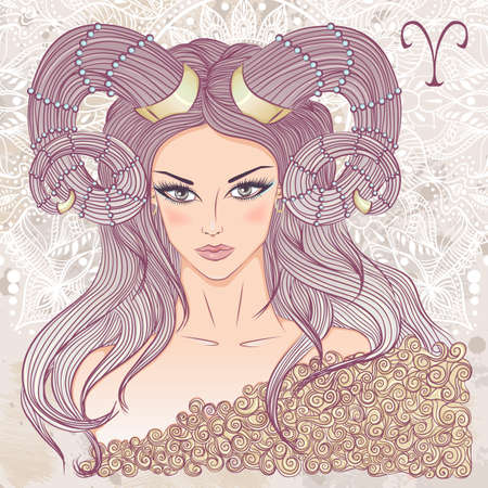 Zodiac. illustration of the astrological sign of Aries as a portrait beautiful girl with long hair. The illustration on decorative grunge background in retro colors