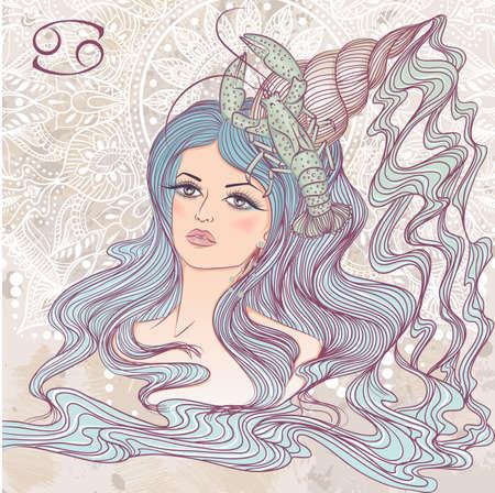 Zodíaco. Ilustración de la muestra astrológica del cáncer como un hermoso retrato de niña con el pelo largo. La ilustración en el fondo decorativo del grunge en colores retro Foto de archivo - 62922020