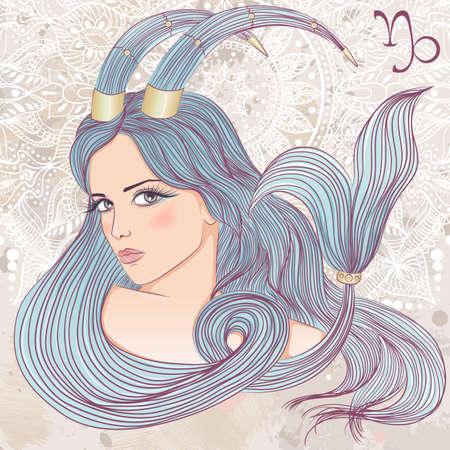 Zodiac. illustration of the astrological sign of Capricorn as a portrait beautiful girl with long hair. The illustration on decorative grunge background in retro colors Illustration