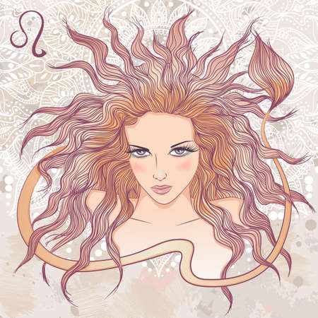 Zodiac. illustration of the astrological sign of Leo as a portrait beautiful girl with long hair. The illustration on decorative grunge background in retro colors