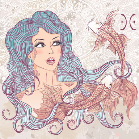 Zodiac. illustration of the astrological sign of Pisces as a portrait beautiful girl with long hair. The illustration on decorative grunge background in retro colors 矢量图像