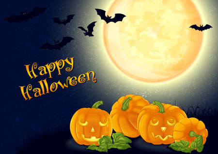 Halloween background design.Vector illustration. Spooky halloween pumpkins and bats on a background of the full moon. Illustration