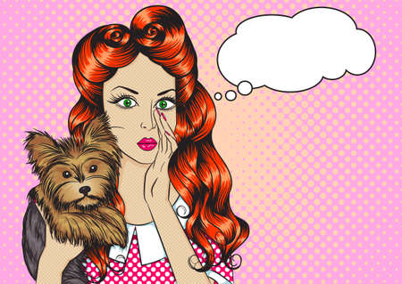 Portrait of sexy girl with little dog Yorkshire Terrier and the speech bubble in the pop art style. Vector illustration of retro girl in comics style. Vintage advertising poster  イラスト・ベクター素材
