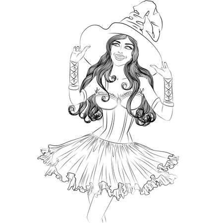 monochrome drawing of young sexy witch in a hat outline