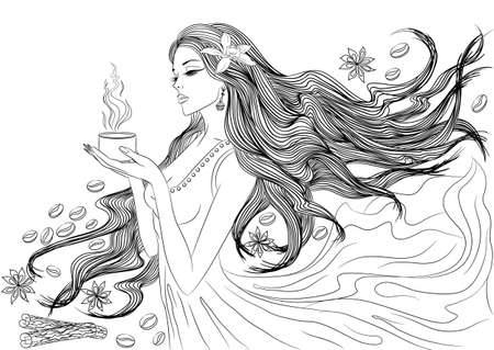 Line art. Vector illustration of a beautiful young girl with long hair in a flowing dress with a cup of hot coffee in her hands. Isolated on white background. Coloring book page for adults Illustration