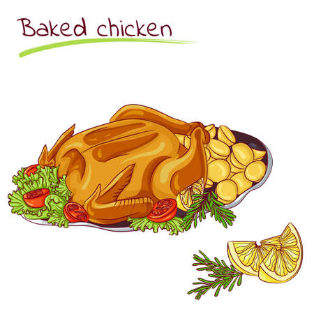 baked potato: Baked chicken with potatoes