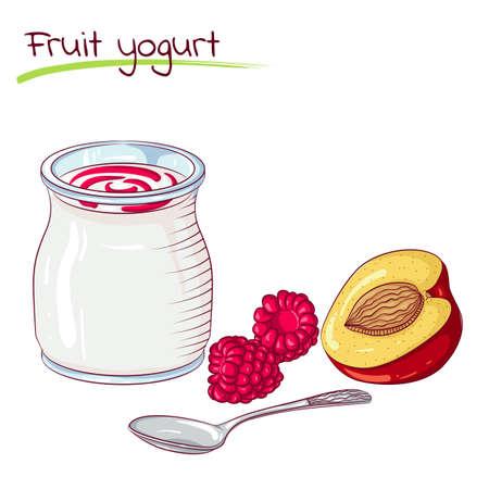 milk products: Fruits and yogurt Illustration