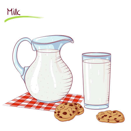 Milk in a jug and cookie