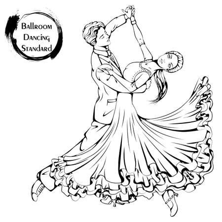 Dance line ballroom dancing standard Illustration