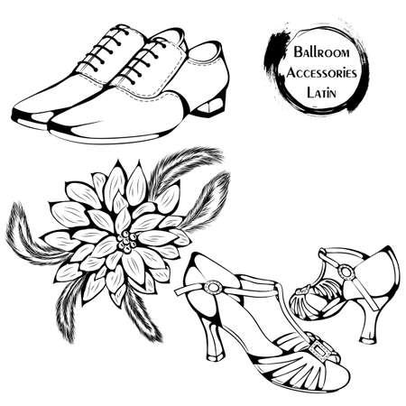 Accesorios de la línea de la danza del salón de baile latina