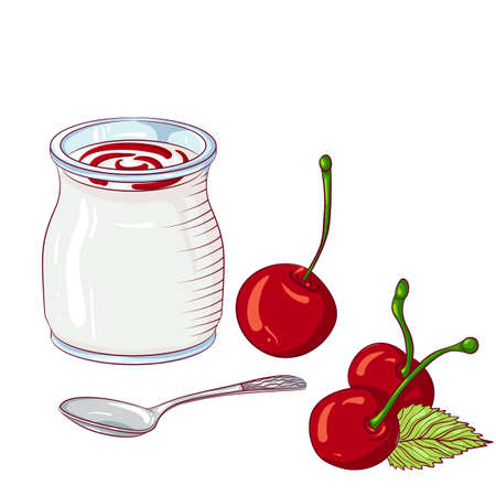 Yogurt with cherry on white background
