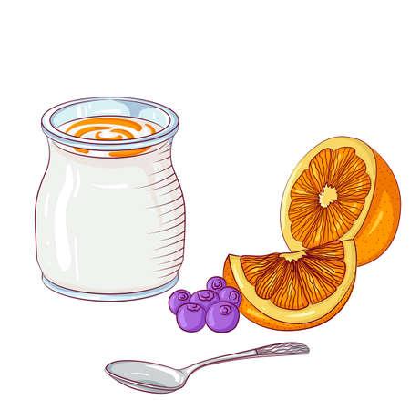 Yogurt with orange on white background