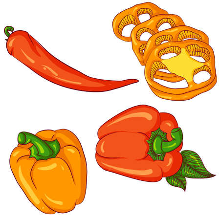 Set of peppers on white background Ilustrace