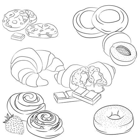 Vector line art illustration with food. Set with various baking. Illustration for menu, cookbook or coloring book. Sketch isolated on white background