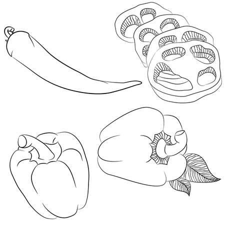 Ilustración De Arte De Línea De Vector Con Comida. Set Con Varias ...