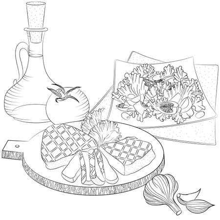 Vector line art illustration with food. Still life with meat, olive oil and salad. Illustration for menu, cookbook or coloring book. Sketch isolated on white background Illustration