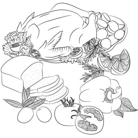 Ilustración Vectorial Línea De Arte Con Los Alimentos. Bodegón Con ...