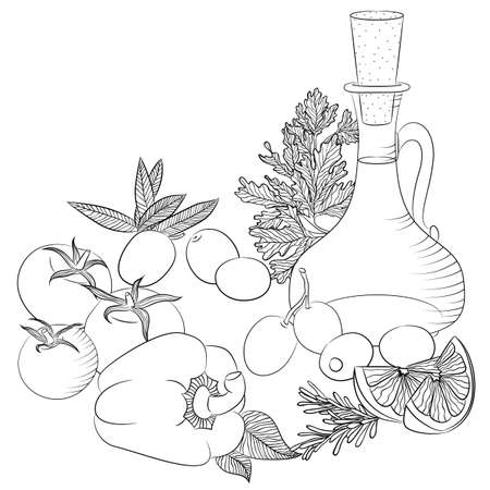 Vector line art illustration with food. Still life with olive oil and vegetables. Illustration for menu, cookbook or coloring book. Sketch isolated on white background