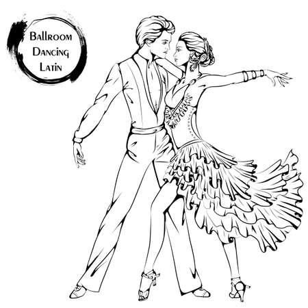 Vector l'illustrazione di giovani coppie che ballano la Latina su fondo bianco. Icona di danza. Design per volantini, riviste e banner commerciali. Serie di ballerini e accessori da ballo. Archivio Fotografico - 87215692